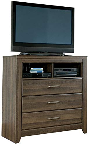 (Ashley Furniture Signature Design - Juararo Media Chest - 3 Drawers - Vintage Casual - Dark Brown)