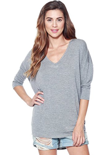 (Alexander + David Women's Modal Knit V-Neck Dolman Tunic Top with ¾ Long Sleeves (S-XL) (Charcoal, X-Large))