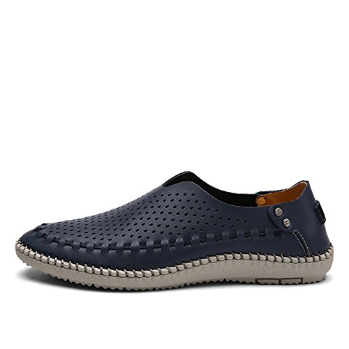 Leather Hollow Driver Navy On Shoes Handmade Slip Men's Casual Loafer Boat VILOCY Breathable Hole Moccasins wTHtq6n