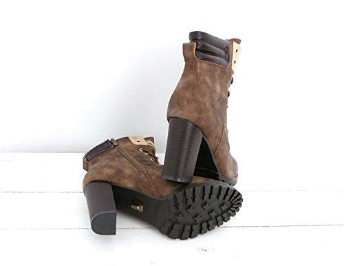 0b552b1fe45186 ... Ankle Worker Boots Schnürstiefeletten Damen Schuhe Plateau Blockabsatz  (8339) Khaki ...
