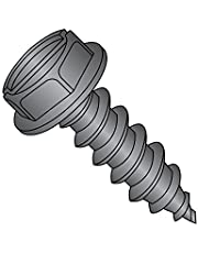 """Steel Sheet Metal Screw, Black Zinc Plated Finish, Hex Washer Head, Slotted Drive, Type AB, 10-16 Thread Size, 1"""" Length (Pack of 100)"""
