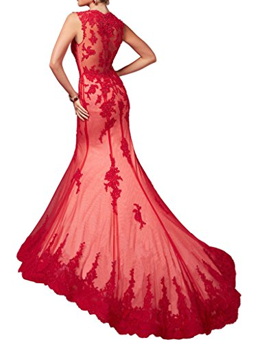 Red Mermaid Illusion Evening Applique Formal Women's Neck V Dress Pageant Gown Dressylady Prom xq0OTwC4c7