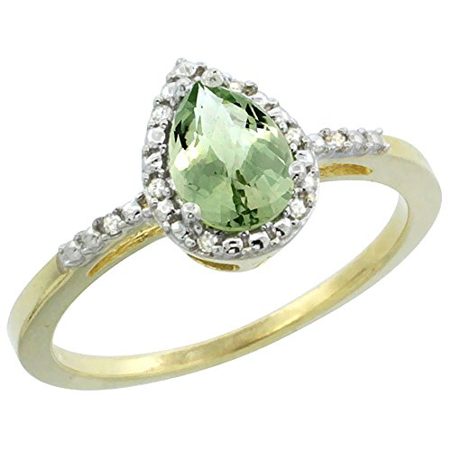 Ring Amethyst Green Gold (10K Yellow Gold Diamond Genuine Green Amethyst Ring Pear 7x5mm size 9.5)