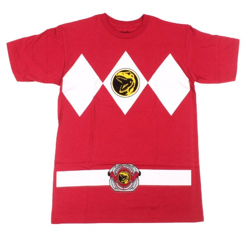 Power Rangers Red Ranger Costume Red Adult T-Shirt Tee, -