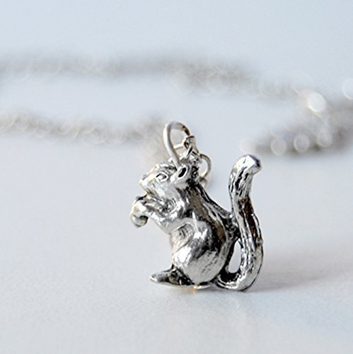 Enchanted Leaves - Little Silver Squirrel Necklace - Cute Squirrel Charm Necklace (Over Pewter Pendants)