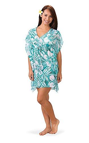 - Kai Women's Chiffon Lightweight V-Neck Empire Drawstring Tropical Stylish Hawaiian Beach Cover Up (L/XL, Tropical Teal)