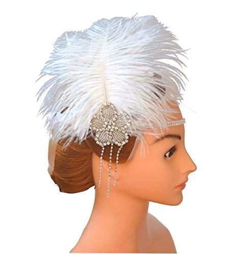 Blank K Wedding Bridal Feather Headband Bridal Wedding Headpieces Christmas Carnival Headband by Blank K