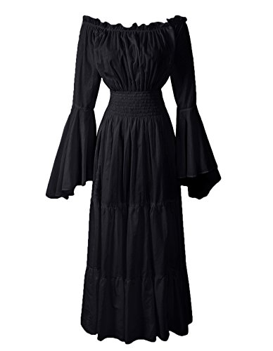 ReminisceBoutique Renaissance Medieval Dress Costume Mythic Mystic Forest Sword Mistress Chemise (Regular, Black)