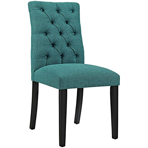 Modway Duchess Modern Elegant Button-Tufted Upholstered Fabric Parsons Dining Side Chair in Teal