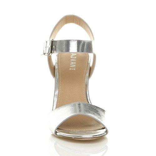 High Metallic Heel Size Block Women Silver Sandals Ajvani qW5RBn6xvw
