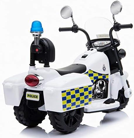 Moto de polic/ía Infantil Blanco Moto el/éctrica para ni/ños con bater/ía 6v ATAA Moto de Polic/ía Mini