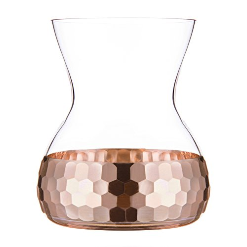 MyGift Hourglass-Shaped Glass and Textured Copper Vase
