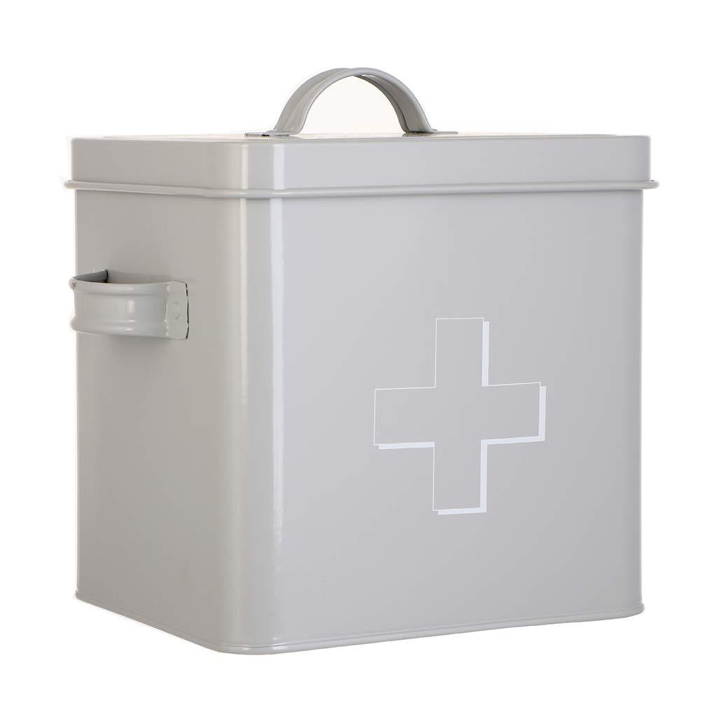 Grey Home Kitchen First Aid Supplies Storage Tin- L23 x H21.5cm Dibor