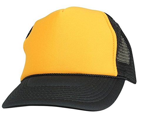 Quality Merchandise QML Trucker Cap Mesh Hat with Solid, Two Tone Colors and Adjustable Snapback Strap and Small Braid (2 Tone, Gold/Black)