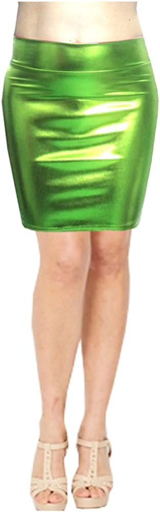 SACASUSA High Waisted Shiny Metallic Liquid Wet Look Pencil Skirt 10 Colors