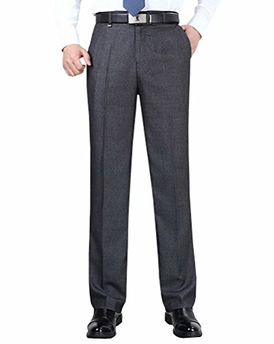 Front Pants Flat Silk (Wxian Men's Non-Iron Straight Flat-Front - Formal Business Dress Pants)