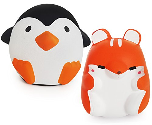 Chuchik Squishy Toy For Stress Relief. Kawaii Slow Rising and super soft Squishies with sweet Scented. 2 pack (Penguin & Hamster)
