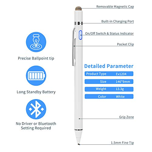 Evach Active Stylus Digital Pen with Ultra Fine Tip Stylus for iPad iPhone Samsung Tablets, Compatible with Apple Pen,Stylus Pen for iPad Pro, White