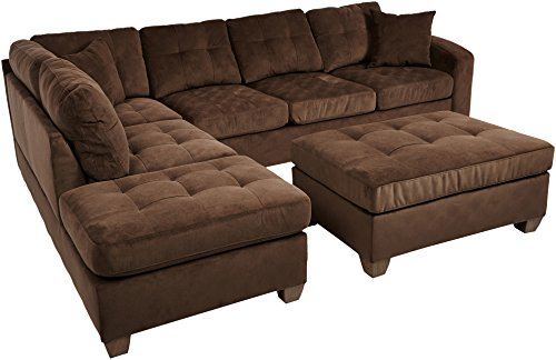 Homelegance 2 Piece Sectional Sofa Polyester With Reversible Chaise, Two Toss Pillows, and Ottoman, Chocolate 2 Piece Sectional Chaise