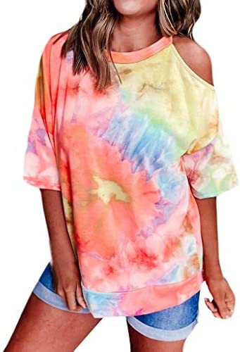 Memela Women Tie-Dyed T-Shirt Summer Fashion Cold Shoulder Loose Fit Pullover Tops Half Sleeve Tunic Tops Casual Blouses