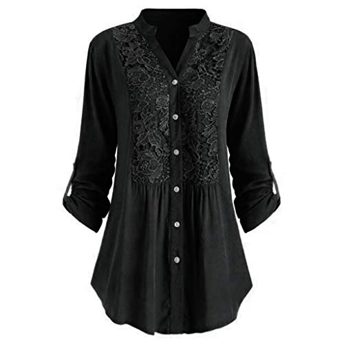 Respctful✿ Women's Casual Button Henly Shirt Lace Splice Cuffed Sleeve Flowy Loose Peplum Boho Blouse T-Shirt Tops