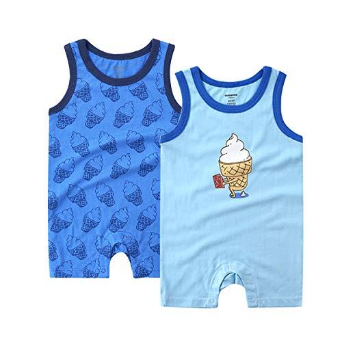 (Teach Leanbh Baby Boys 2-Pack Romper Cotton Sleeveless Print Bodysuit Coverall 3-24 Months (3-6 Months, Polder Blue/Ice Cream))