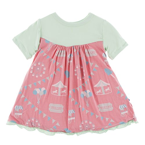 (Kickee Pants Little Girls Print Classic Short Sleeve Swing Dress, Strawberry Carnival, 12-18)