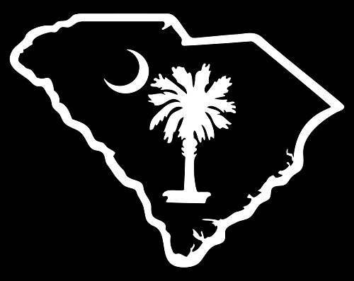 SC STATE OUTLINE WITH SOUTH CAROLINA PALMETTO MOON 6