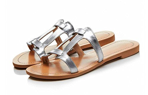 Classic Leather GLTER H Silver Summer Sandals Open Slippers H Flop Beach Flip Flat Shoes Shoes Toe Type Pool Women Sandals Essential P7q6WCPFx