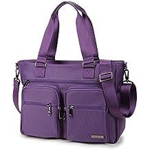 Crest Design Water Repellent Nylon Shoulder Bag Handbag Tablet Laptop Tote as Travel Work and...