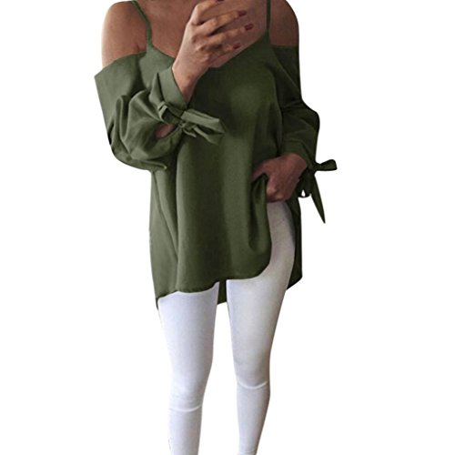 Women Casual Cold Shoulder Long Sleeve with Tie Blouse Loose T-Shirt Tank Tunic Top by-NEWONESUN (2X-Large, Green) ()