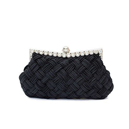 ZJ Tote Bride With Evening Bag Clutch amp;OS Day black Party Chains Clutch Bag Knitted Diamond Women's r47rA