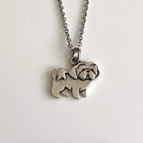 Lhasa Apso or Shih Tzu Dog Necklace on Stainless Steel Chain - Dog Breed Jewelry - Dog Mom Gift