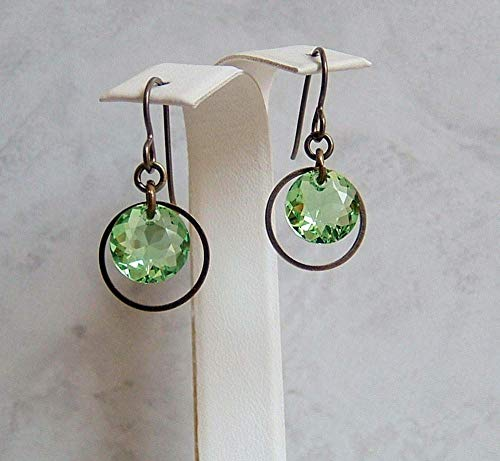 Green Round Crystal Framed Hoop Bronze Niobium Earrings ()