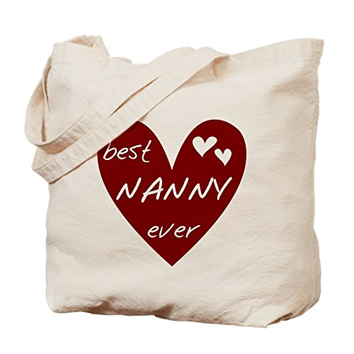 CafePress Heart Best Nanny Ever Natural Canvas Tote Bag, Cloth Shopping Bag (Tote Bag Nanny)