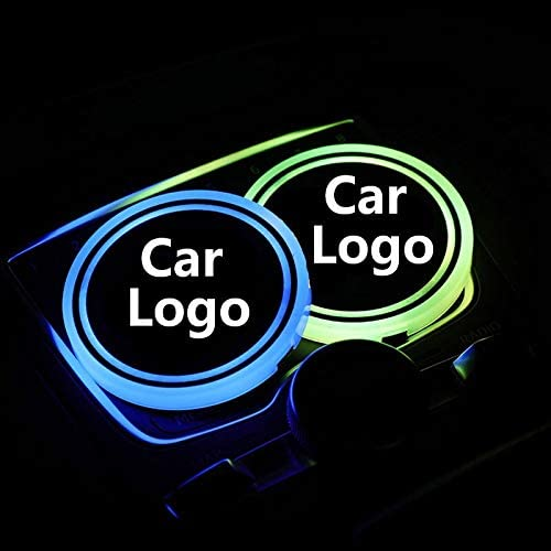 USPANDI 2X Led Car Logo Cup lights For Jeep Acura Buick Chevrolet Chrysle BYD Dodge Fiat Mitsubishi Renault Luminous Coaster Accessories