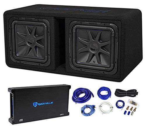 "Kicker 44DL7S122 Dual 12"" 3000w L7 Solo-Baric L7S Loaded Subwoofer Box+Amp+Wires"