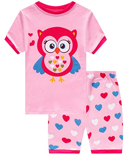 (Girls Short Pajamas Owl Pjs Toddler Pjs Clothes Kids Sleepwear Summer Shirts Size 4t )