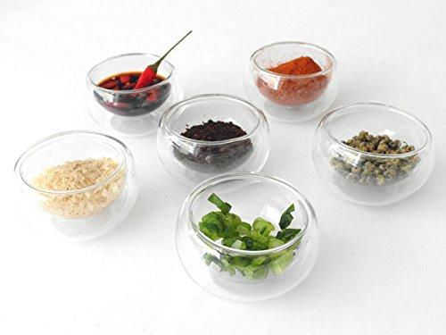 6 St/ück Glas Sch/älchen Gew/ürze Oliven Salz Zucker Kochzutaten Doppelwand isoliert Modell TC10GW