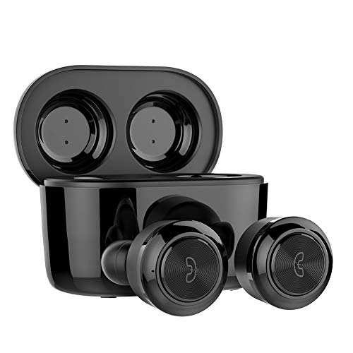 WSCSR True Wireless Earbuds,Easy-Pair Sports Sweatproof Mini Bluetooth Headphones with Graphene-Enhanced Drivers,3D Stereo Sound,IPX5 Sweatproof,Stereo Calls and Built-in Mic-Black