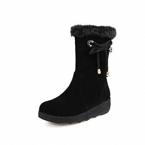 Show Shine Dames Chic Knot Bows Korte Laarzen Snowboots Zwart