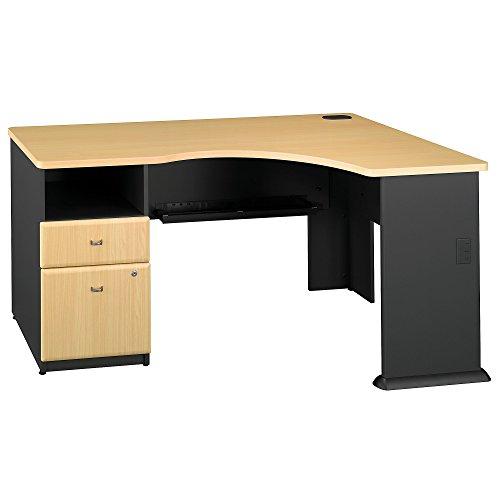 - Series A Single Pedestal Corner Desk in Beech/Slate