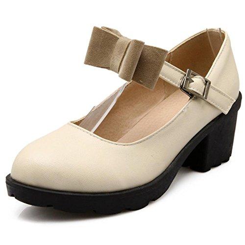 COOLCEPT Mujer Moda Correa de Tobillo Boca Baja Zapatos Cerrado Bombas Medio Tacon Ancho Zapatos con Bowknot Beige