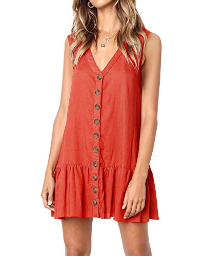 Imysty Womens Polka Dot V Neck Button Down Ruffles Loose Mini Short T-Shirt Dress (Medium, Z2-Brick Red)