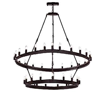 "Wrought Iron Vintage Barn Metal Castile Two Tier Chandelier Chandeliers Industrial Loft Rustic Lighting W 38"" H 50"""