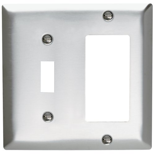 Legrand - Pass & Seymour SL126CC5 Wall Plate Stainless Steel 430 Two Gang Single Toggle Single Decorator No Line