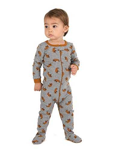 - Leveret Kids Pajamas Baby Boys Girls Footed Pajamas Sleeper 100% Cotton (Bison, Size 6-12 Months)