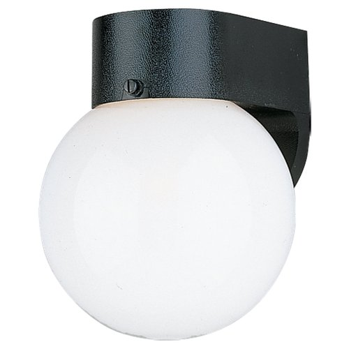 Sea Gull Lighting 8753-34 Single-Light Outdoor Wall Lantern with Smooth White Globe, Black Review