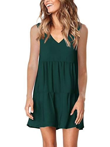 Amoretu Womens Sleeveless Tunics Dresses Swing Shift Summer Tank Dress Green XXL