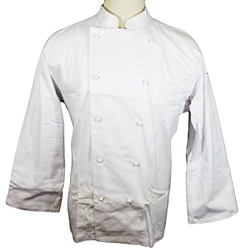 Dickies Hospitality CW070101 White Knot Button Grand Master Chef Coat Jacket